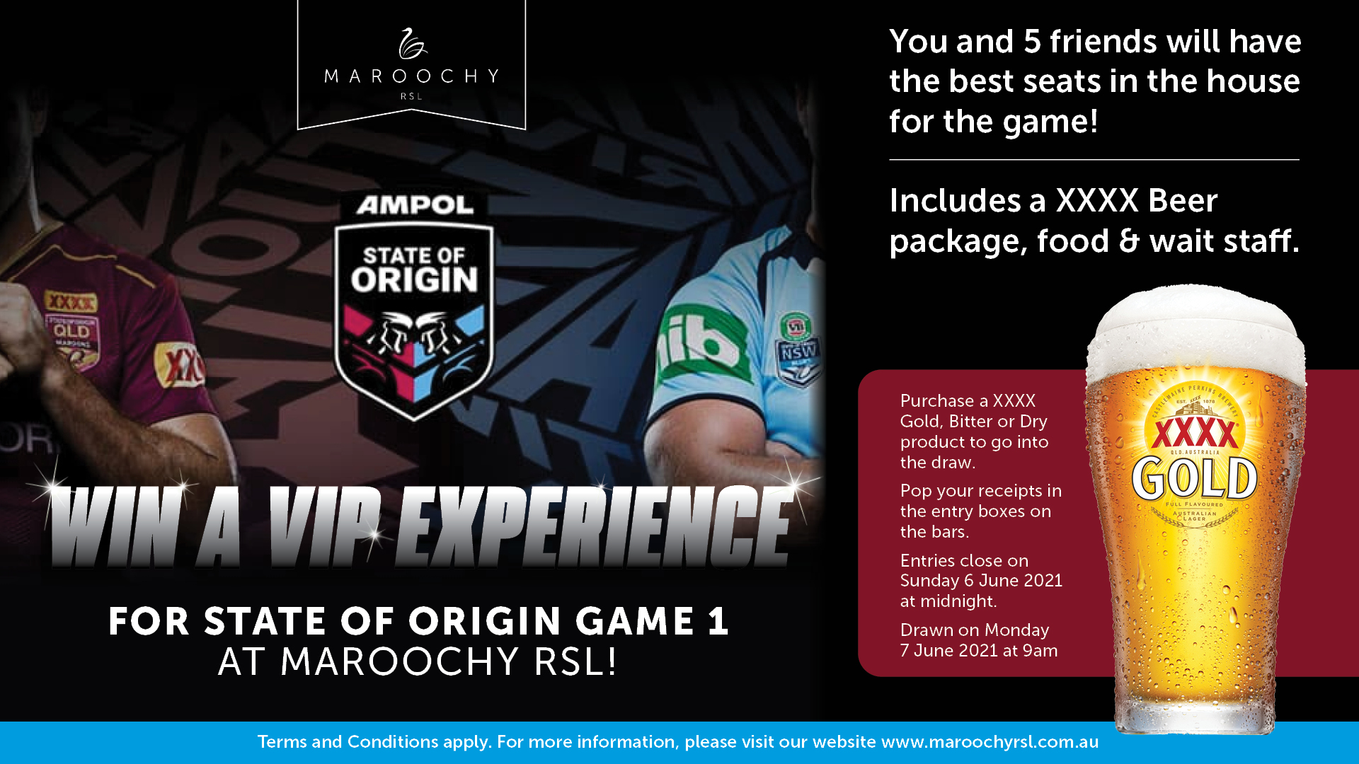 Win a State of Origin VIP Experience at Maroochy RSL - Game 1