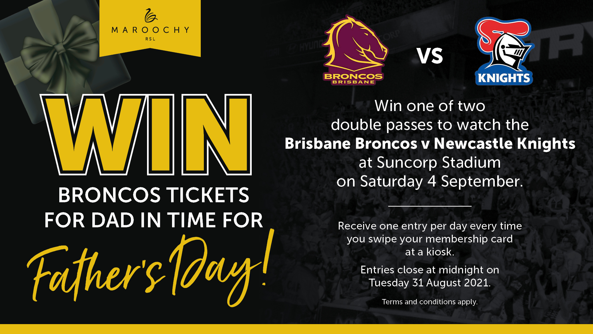 WIN one of Two Double Passes to Brisbane Broncos vs Newcastle Knights
